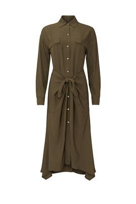 Green Tie Front Shirtdress by VINCE.