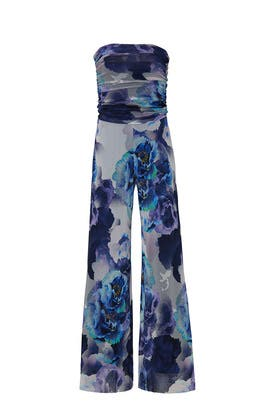 Blue Strapless Jumpsuit by Fuzzi