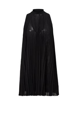 Black Sequin Pleated Shift by Tracy Reese