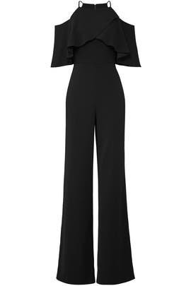 Ruffled Black Jumpsuit by Badgley Mischka