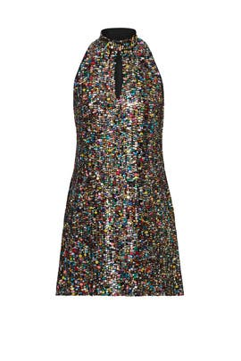 Rainbow Sequin Mod Shift Dress by Cynthia Rowley