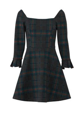 Plaid Wide Neck Dress by J.O.A.