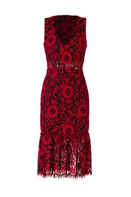 Red Lace Flounce Dress by Alexia Admor