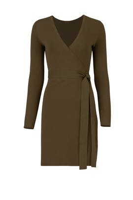 Green Knit Wrap Dress by Diane von Furstenberg