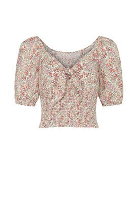 Floral Tie Front Smocked Top by Louna