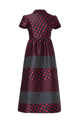 Red Contrast Polka Dot Dress By Valentino