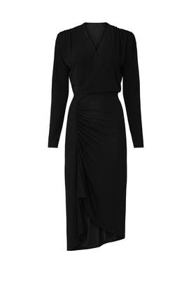 Black Long Sleeve Ruched Dress by Atlein