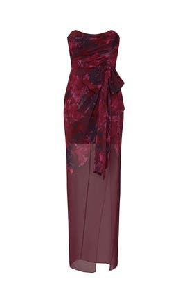 Red Floral Strapless Gown by Badgley Mischka