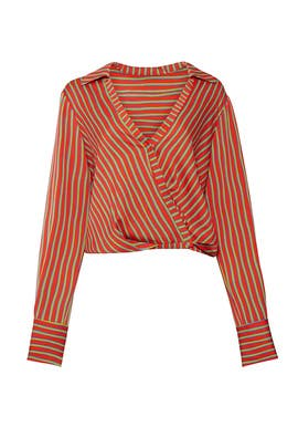 Red Stripe Wrap Top by Diane von Furstenberg