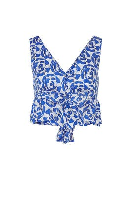 Blue Floral Ruffle Crop Top by Thakoon Collective