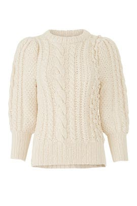 Ermita Cable Stitch Puff Sleeve Sweater by Apiece Apart