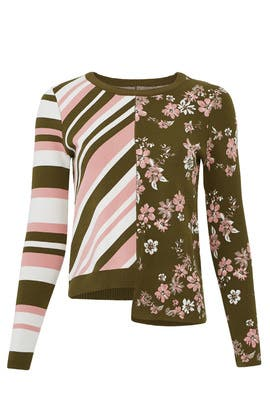Twilight Floral Striped Pullover by Milly