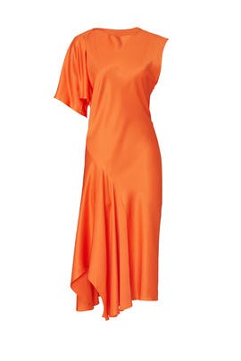Orange Draped Dress by MUGLER