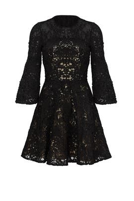 Black Bell Swirl Dress by ML Monique Lhuillier