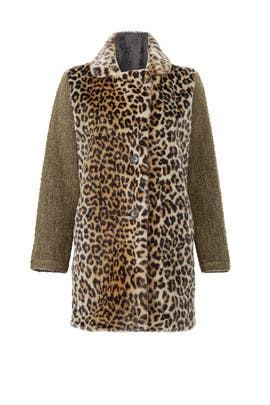 Contrast Faux Leopard Coat by Scotch & Soda