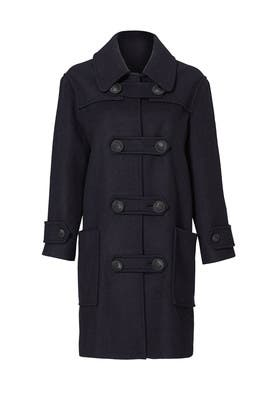 Navy and Yellow Colorblock Coat by Cedric Charlier