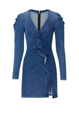 Classic Denim Long Sleeve Ruffle Dress by Jonathan Simkhai