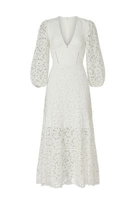 White Lace V-Neck Dress by Jonathan Simkhai