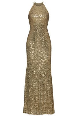 Gold Sequin Halter Gown by Badgley Mischka