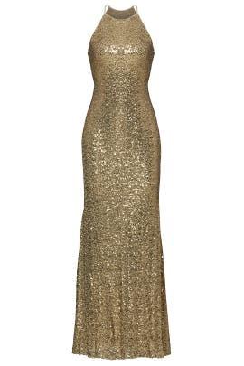 Gold Sequin Halter Gown by Badgley Mischka