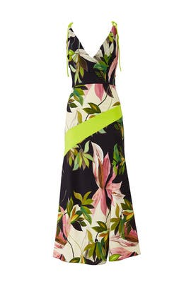 Hawaiian Print Tie Strap Dress by Christian Siriano