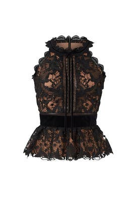Black Lace Peplum Top by Marchesa Notte