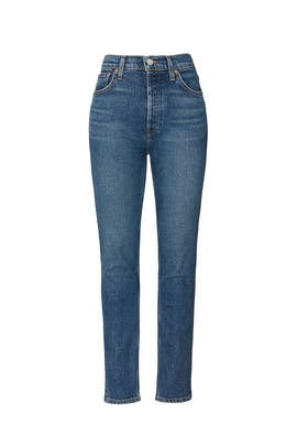 Medium Wash High Rise Ankle Crop Jeans by RE/DONE