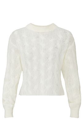 Sheer White Cropped Sweater by The Kooples