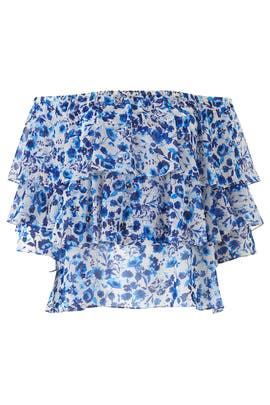 Blue Floral Ruffle Blouse by Rachel Rachel Roy