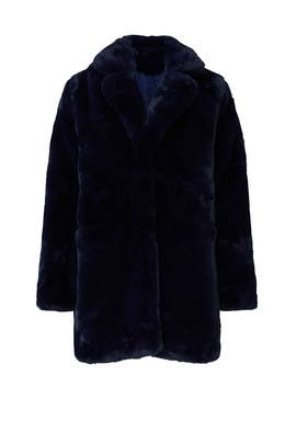 Navy Sophie Faux Fur Coat by Apparis
