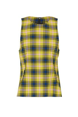 Plaid Sleeveless Tie Back Top by DEREK LAM