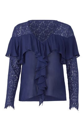Sheer Ruffle Blue Top by Nicole Miller
