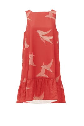 Coral Feather Ruffle Shift by Karen Zambos