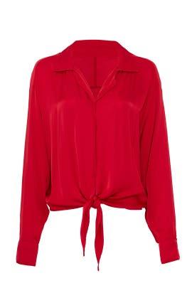 Red Tie Front Shirt by Fifteen Twenty