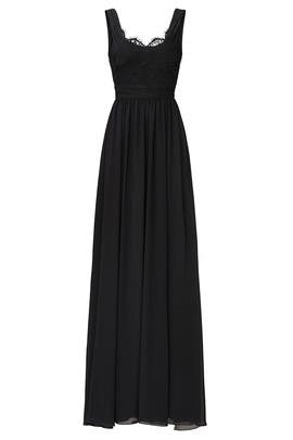 Black Lace Scoop Neck Gown by Love by Theia