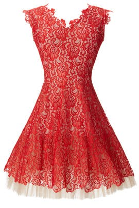 Red Lace Dahlia Dress by nha khanh