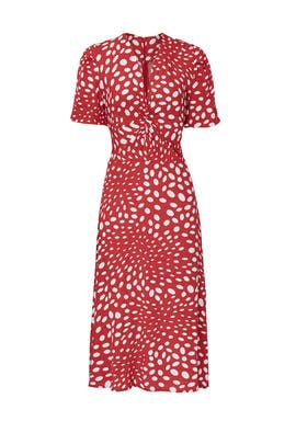 Retro Dots Twist Front Dress by Nicole Miller