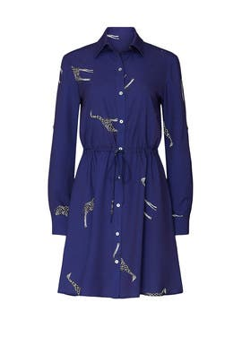 Navy Giraffe Print Shirt Dress by Slate & Willow