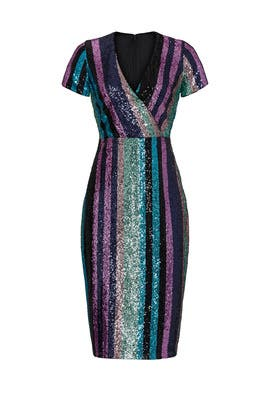 Multi Sequin Striped Dress by Badgley Mischka