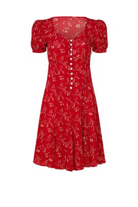 Red Floral Short Sleeves Dress by Polo Ralph Lauren