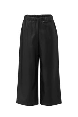 Black Faux Leather Culottes by Slate & Willow