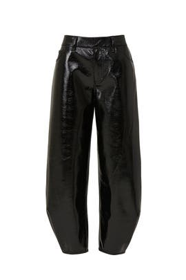 Faux Patent Leather Sculpted Pant by Tibi