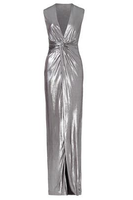 f17027c1b8e7a Silver Twist Column Gown by Halston Heritage for  55 -  70