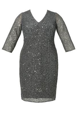Grey Sparkle Jagged Edge Sheath Dress by Kay Unger