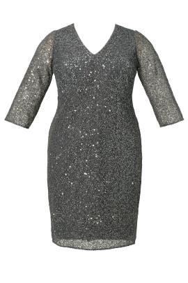 Grey Sparkle Jagged Edge Sheath Dress by Kay Unger