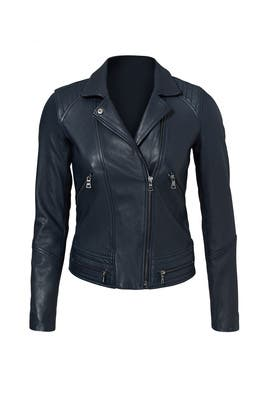 Navy Washed Leather Jacket by Rebecca Taylor