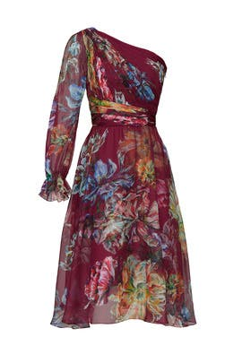 Floral Printed Cocktail Dress by Marchesa Notte
