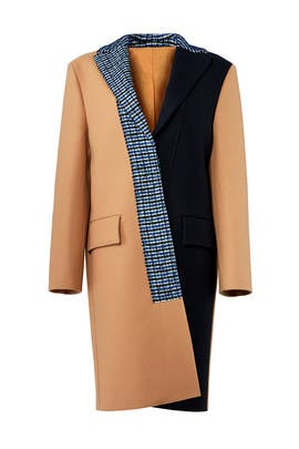 Check Printed Coat by Cedric Charlier
