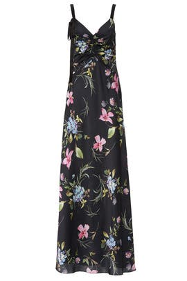 Dark Floral Ruched Gown by Jill Jill Stuart