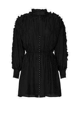 Black Silk Ruffle Sleeve Dress by The Kooples